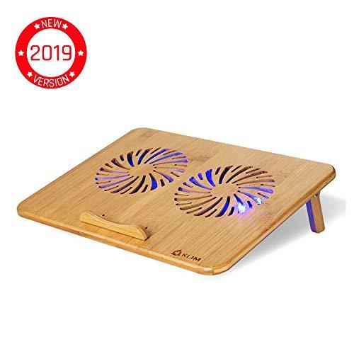 """KLIM Bamboo - Laptop Kühlungspad - Anpassbare Geschwindigkeit - Kühlende Unterlage mit Lüftern und Bambus Struktur, für Laptops zwischen 10"""" und 15,6"""" - Extra USB Port [ Neue 2019 Version ]"""