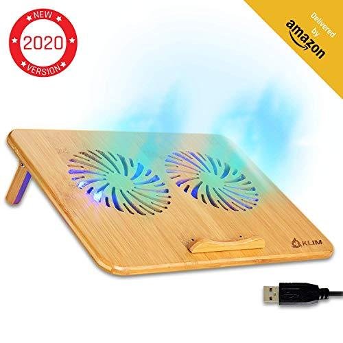 """KLIM Bamboo - Laptop Kühlungspad - Anpassbare Geschwindigkeit - Kühlende Unterlage mit Lüftern und Bambus Struktur, für Laptops zwischen 10"""" und 15,6"""" - Extra USB Port [ Neue 2020 Version ]"""