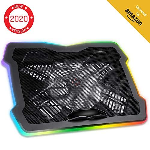 KLIM Cyclone - Laptop Kühler + Ständer + Maximale Kühlung + Verhindere Überhitzung + Schütze Dein Laptop + 5 Lüfter 2200 & 1200 RPM + Cooling Pad für Computer PS4 Xbox One + Blau - Neue 2020 Version