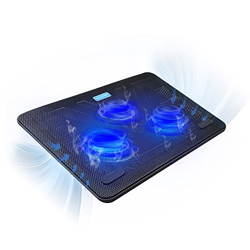 TECKNET Laptop Kühlpads 12-17 Zoll, Laptop Kühler Cooling Pad Notebook Cooler Ständer Kühlpad Kühlmatte, 2 USB-Ports, 3 Lüfter mit LEDs