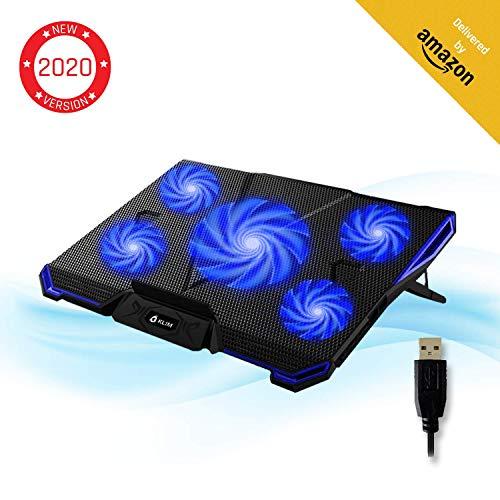 KLIM Cyclone - Laptop Kühler + Ständer + Maximale Kühlung + Verhindere Überhitzung + Schütze Dein Laptop + 5 Lüfter 2200 & 1200 RPM + Cooling Pad für Computer PS4 Xbox One + Blau Neue 2019 Version